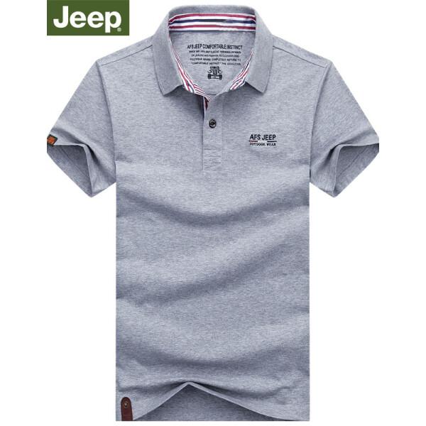 Jeep吉普短袖t恤男2018夏新品商务休闲条纹翻领大码中青年男士打底衫半袖上衣男装 3616灰色 L