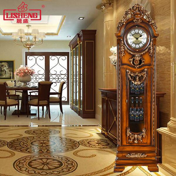 丽盛欧式古典实木落地钟客厅报时立式大钟雕花实木酒柜落地钟别墅落地钟 Q250M