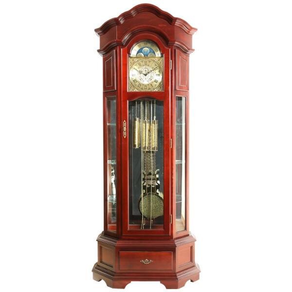 汉时(Hense) 实木落地钟复古椴木德国赫姆勒机械座钟HG108 椴木德国十二音