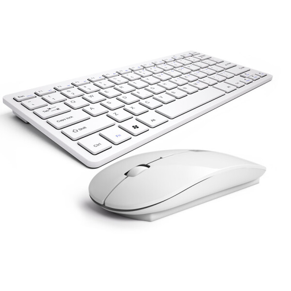 航世(B.O.W)HW098 巧克力靜音按鍵2.4G無線鍵盤鼠標套裝 辦公游戲鍵鼠套裝 白色