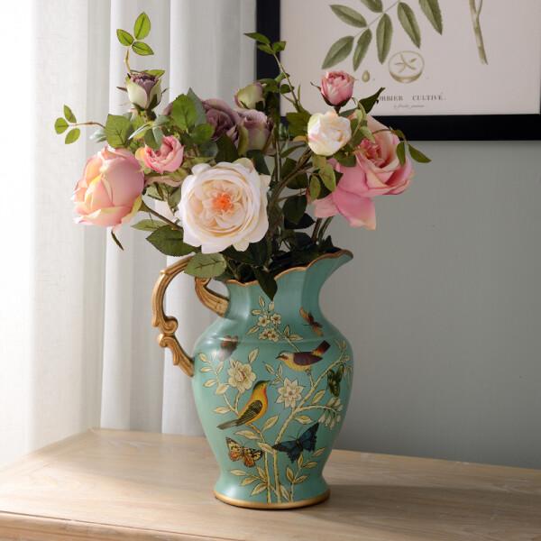蒂拉 美式陶瓷花瓶花艺套装摆件 家居装饰花干花仿真花假花工艺品家居摆件摆设 配7束皇室玫瑰