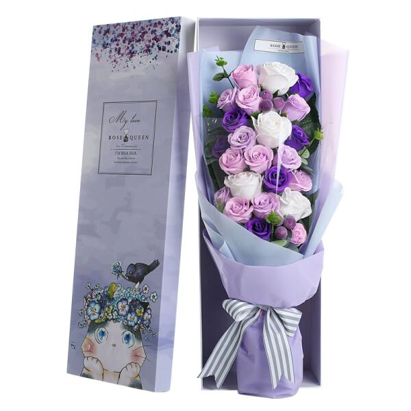 I'M HUA HUA21朵紫色玫瑰花香皂花礼盒保鲜花速递同城生日520情人节礼物母亲节送女生女友