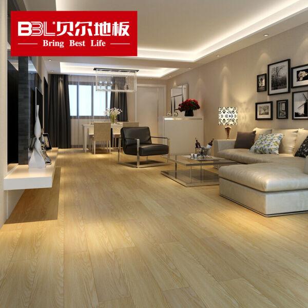 贝尔(BBL) 贝尔地板强化复合木地板耐磨防滑镜面U雅12mm 白橡