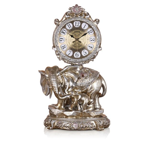 丽盛(LISHENG)大号欧式大象石英钟复古座钟树脂摆钟客厅时钟招财落地钟表 古铜色大款