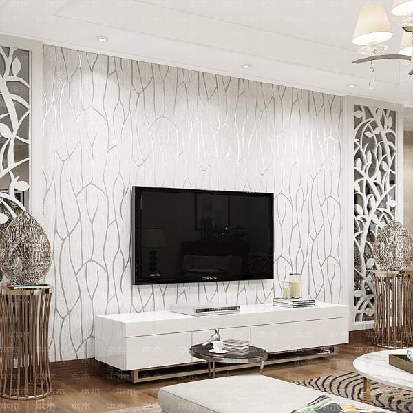 本木 壁纸客厅现代简约电视背景墙墙纸3D影视墙卧室环保无纺布素色加厚
