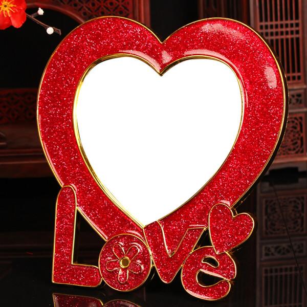 思泽 结婚镜子婚庆用品新娘化妆镜子新娘用品红镜子 LOVE心形镜子/1对