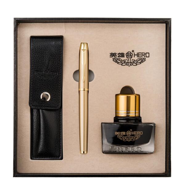 英雄(HERO)1801铱金钢笔/墨水笔组合套装 香槟金