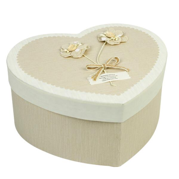 柯柯安爱心形礼品盒大号礼物盒生日礼物包装盒个性创意礼盒子 卡其布花 中号直径23高12cm
