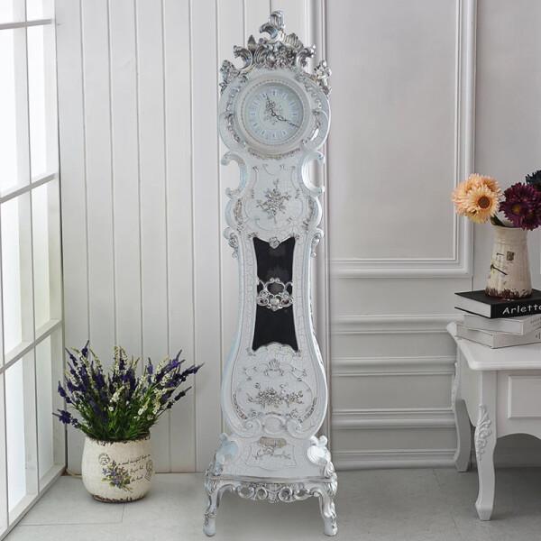 丽盛创意豪华欧式复古落地钟时尚创意摆钟别墅客厅装饰立钟 Q229WS 色 (白色裂纹漆)