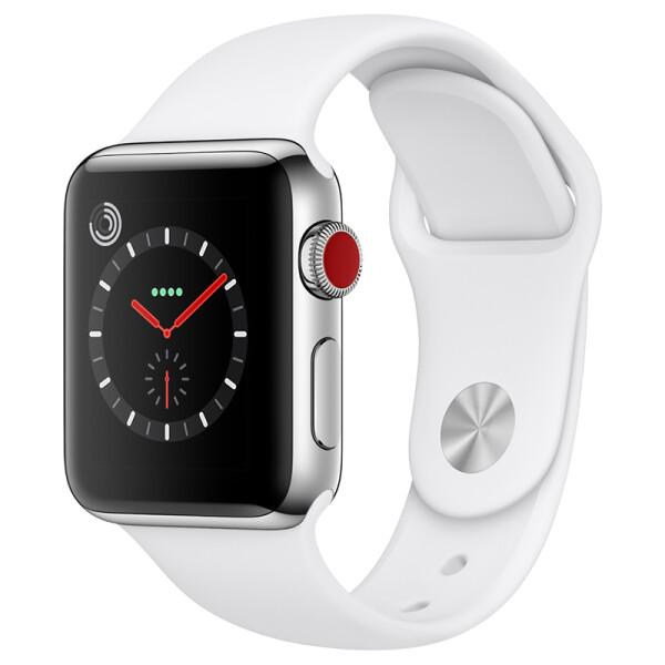【联通版】Apple Watch Series 3智能手表(GPS+蜂窝款 38毫米 不锈钢壳 浅白色运动表带 MQQL2CH/A)