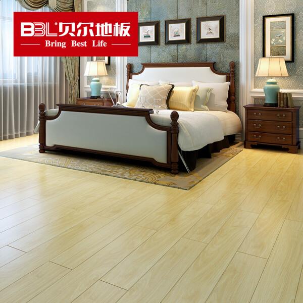 贝尔(BBL) 贝尔地板 强化木地板 大亚基材 地暖防潮耐磨  手抓纹12mm 加州橡木 浅色款