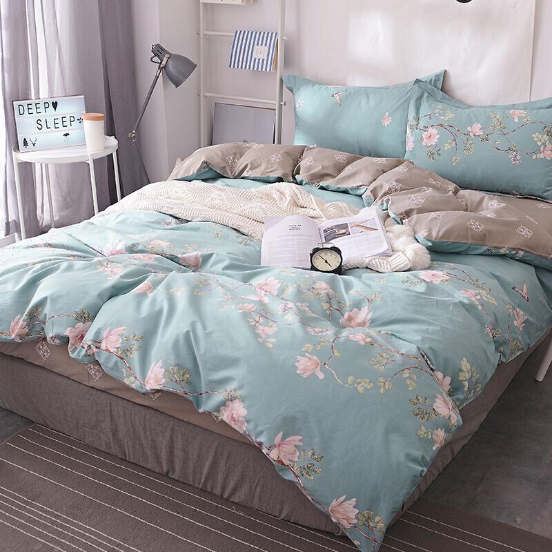 南极人(NanJiren)套件 全棉双人四件套 纯棉被套220*240cm被罩床单床上用品 1.8/2米床 抹茶花