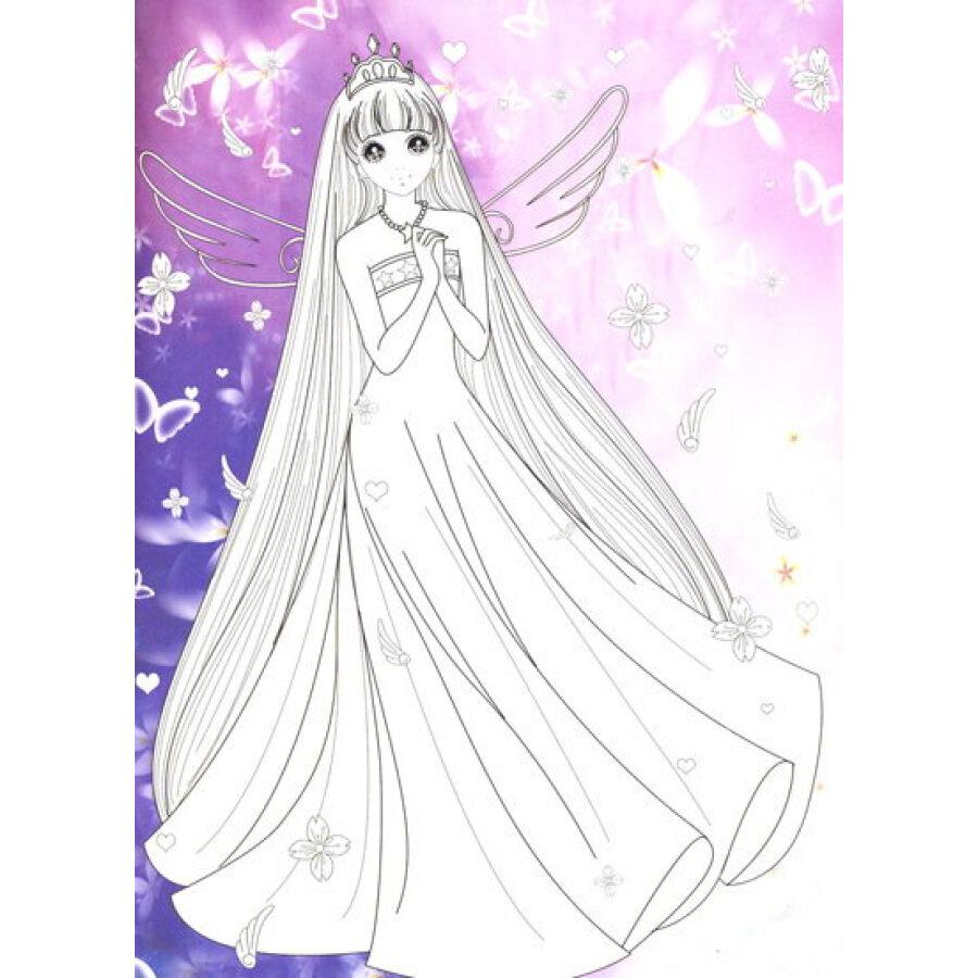 公主涂色画打印大图