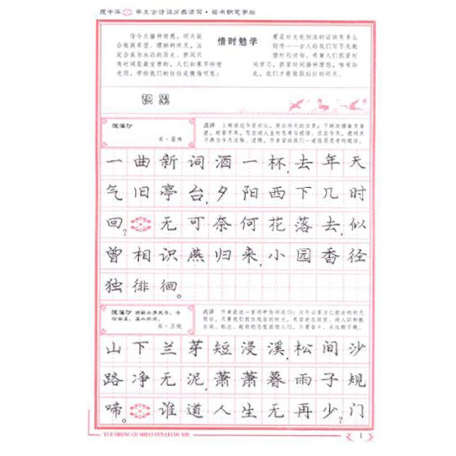 庞中华:学生古诗词分类读写楷书钢笔字帖图片