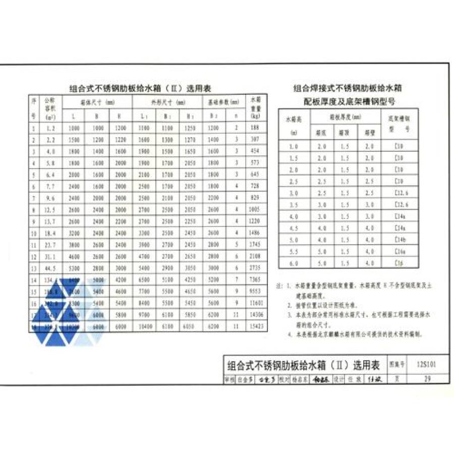 矩形替代标准v矩形国家(12s101建筑02s101):稿纸给水箱绘制图集图片