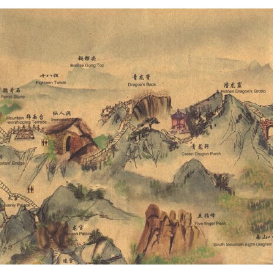 中国手绘旅游地图:天柱山
