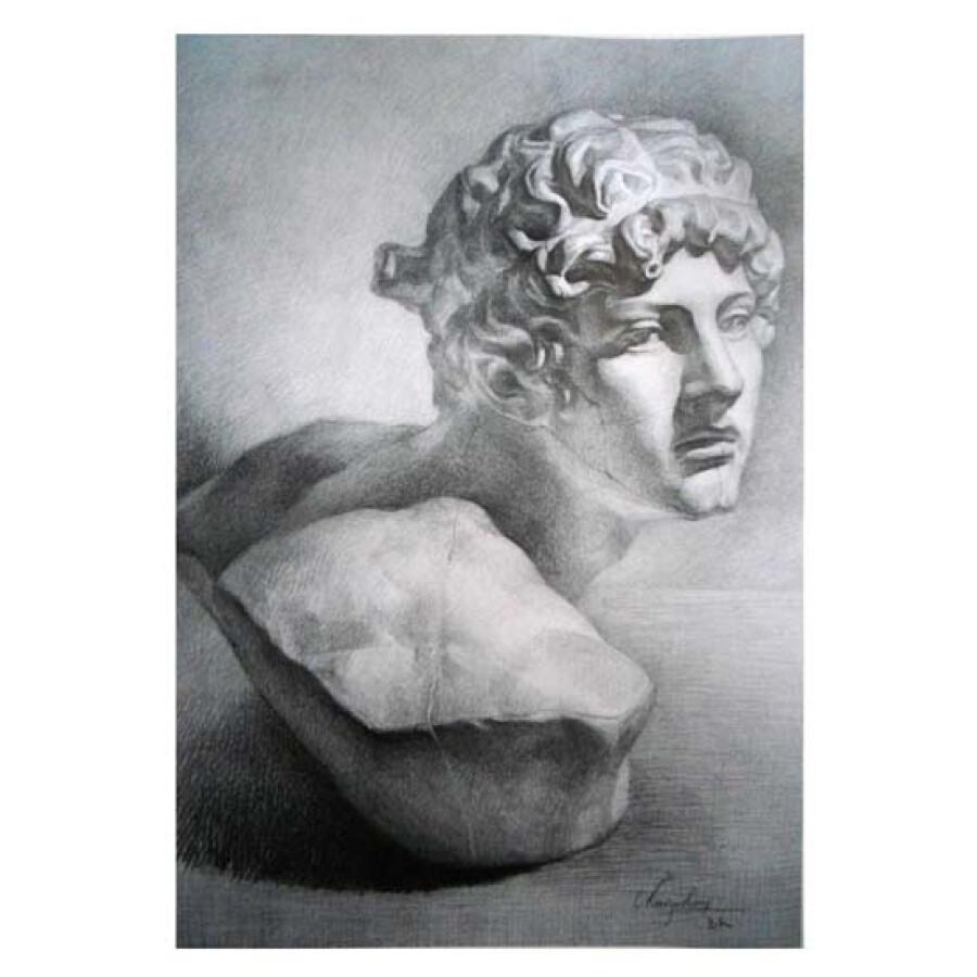 美术教学示范作品:素描石膏范图(13)