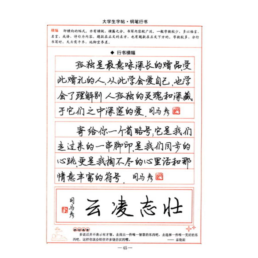 司马彦字帖:大学生字帖·钢笔行书(全新防伪版)图片