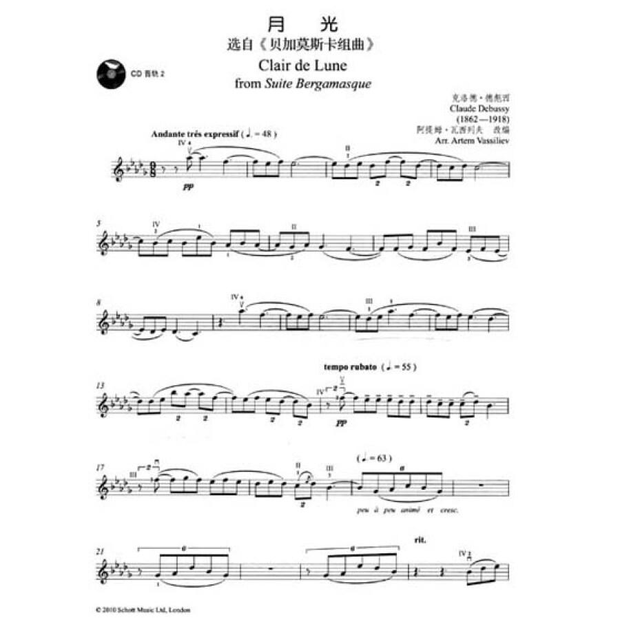 世纪经典名典独奏系列:小提琴独奏世界浪漫名曲(简易版)(附cd光盘1张)