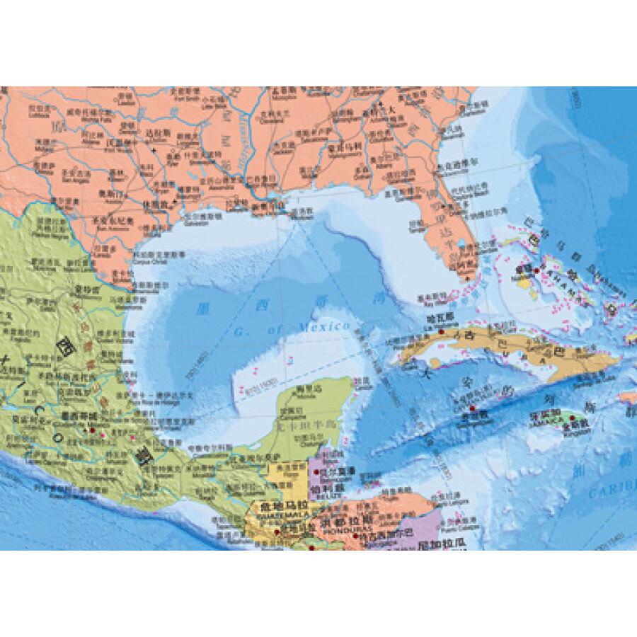 世界国家区���^�_世界热点国家地图--北美洲地图挂图 折叠图(折挂两用 中外文对照 大字
