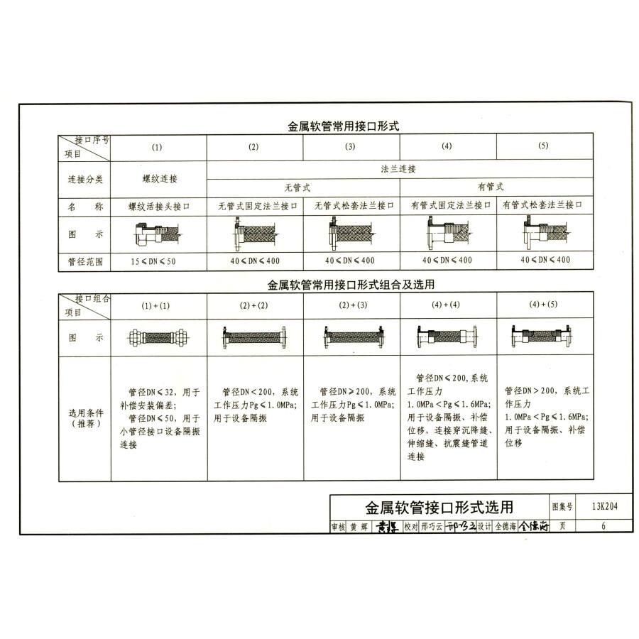 国家建筑标准设计图集:暖通空调水管软连接选用与安装(13k204)