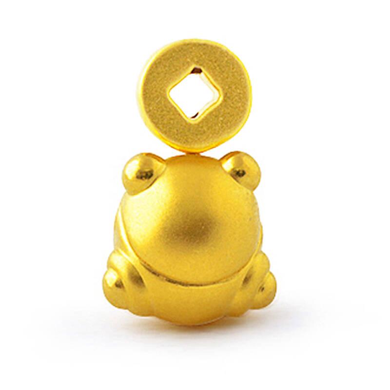 金中国 gold china 3d硬千足金吊坠 q版蟾蜍黄金套链