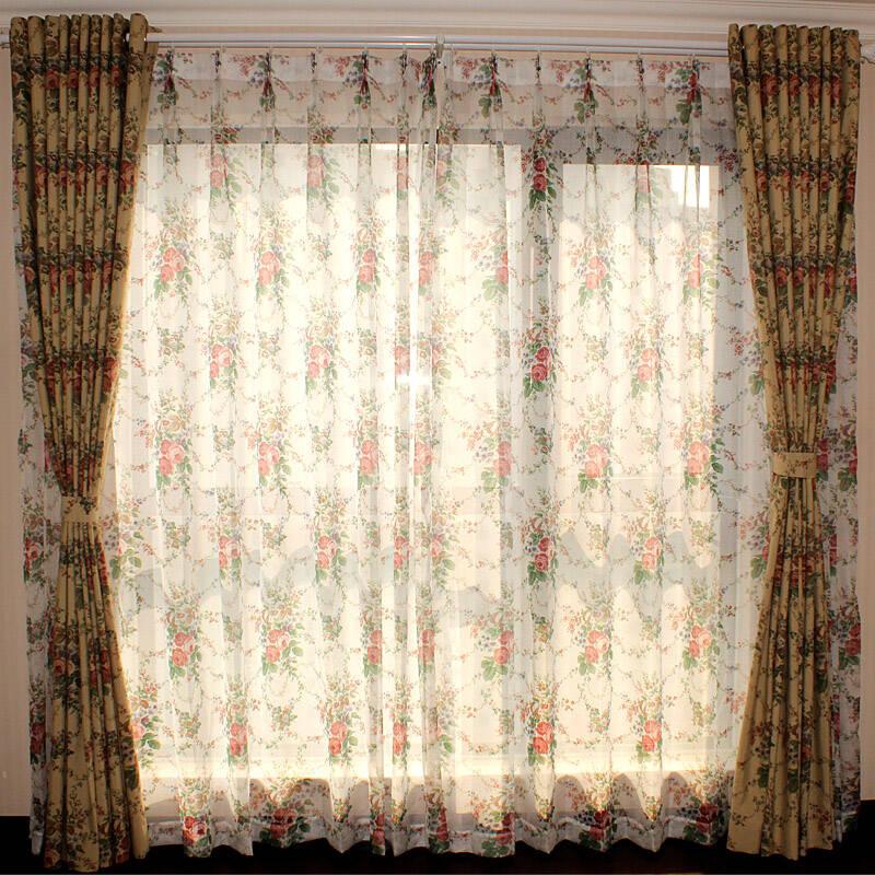 曼凯维奇 欧式田园风格现代客厅卧室涤棉印花窗帘 大牡丹 定制 0.