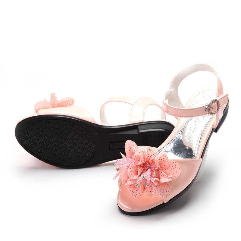 小叮当 女童凉鞋 儿童公主鞋夏季绣花坡跟db3516 粉红