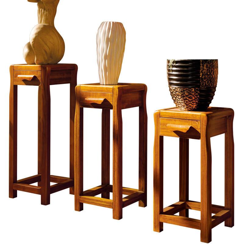帝诗尼 现代中式实木花架 落地木质花盆架 储藏橡木置物架电话架 虎斑