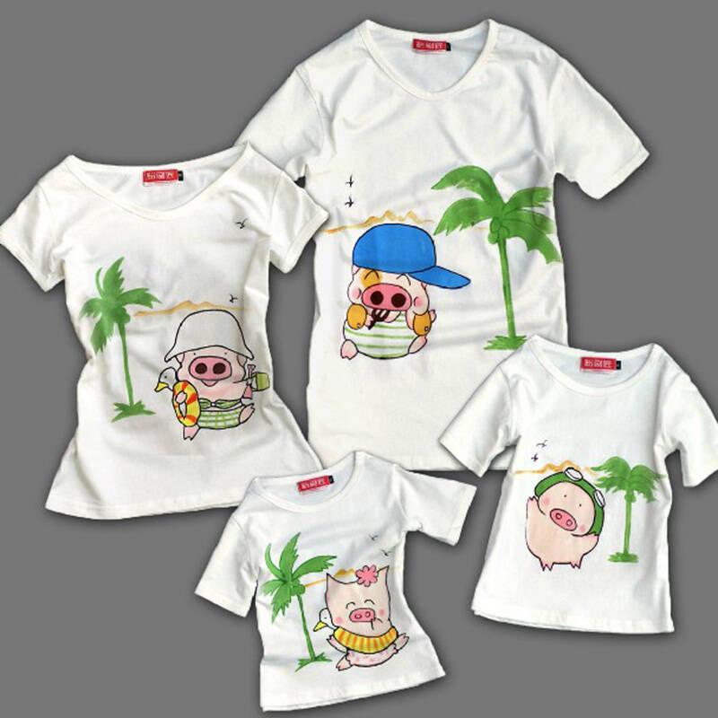 粉刷匠 手绘 亲子装 亲子衫 母女装 母子装 亲子 t恤