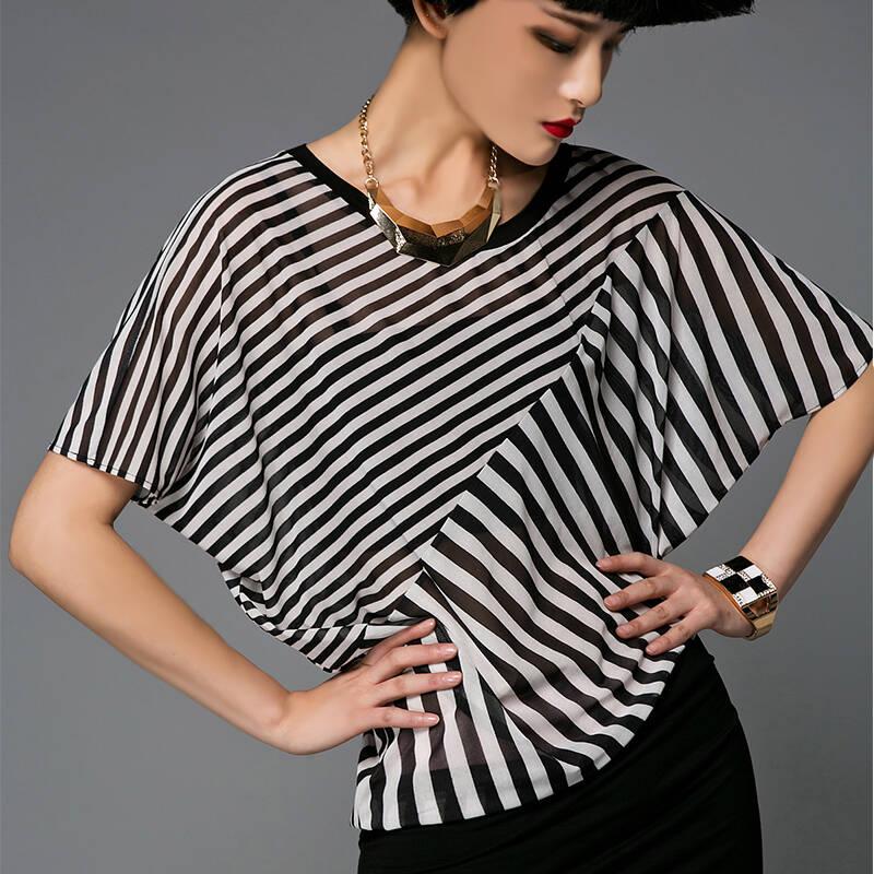 ekesili设计师品牌欧美大牌黑白条纹拼接撞色连衣裙时尚走秀新款 条纹
