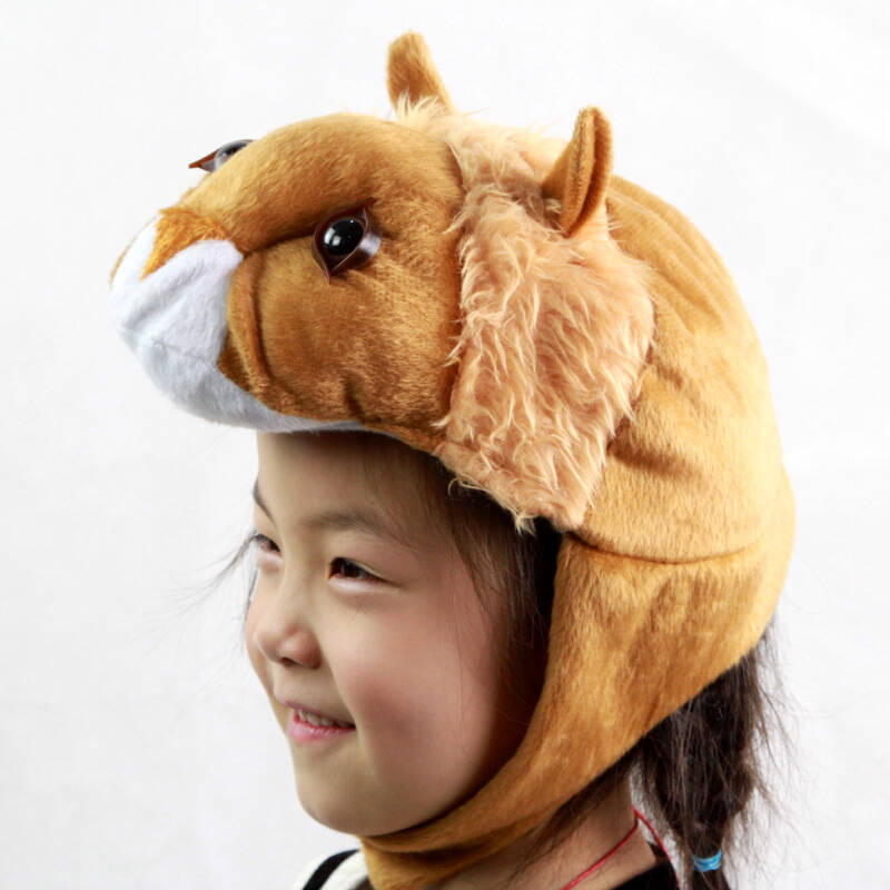 儿童演出动物装扮 六一节服装卡通头饰 毛绒动物头喾