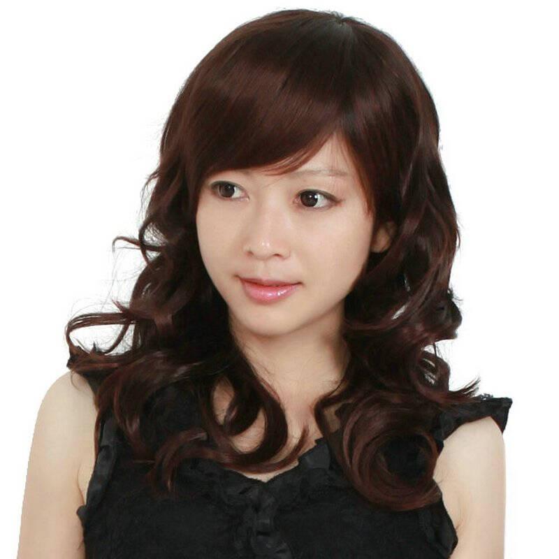 玫瑰雨假发 斜刘海大花卷中长卷发 女生假发女 深棕色图片