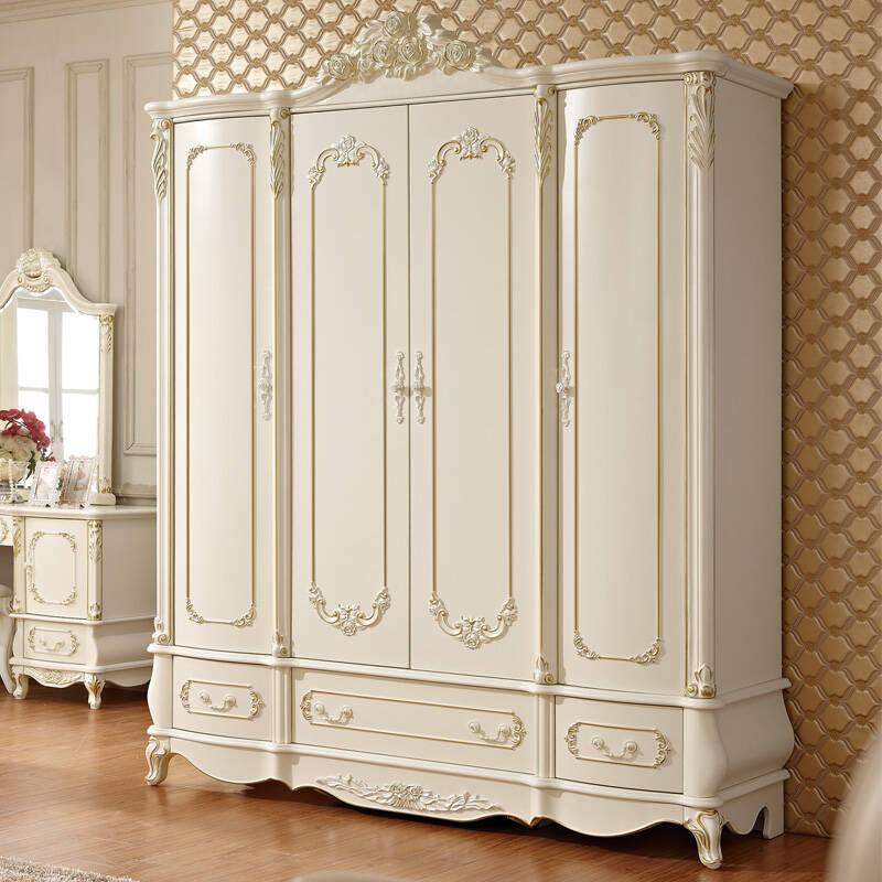 合家家具 法式衣柜 实木衣橱 四门欧式衣柜9011# 四门