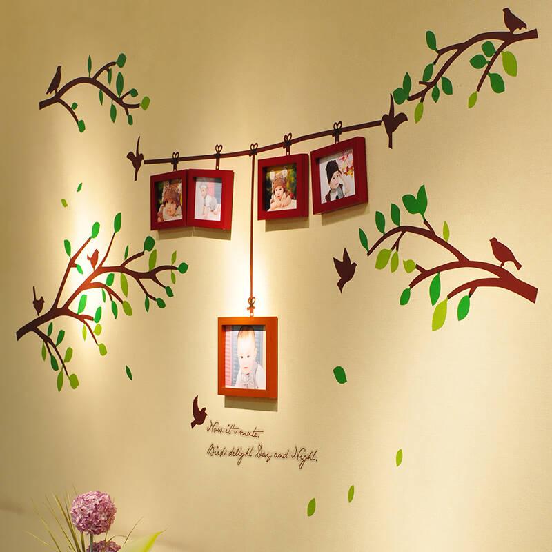 欧影 田园照片墙组合 树枝小鸟相框 创意家居相片墙fp