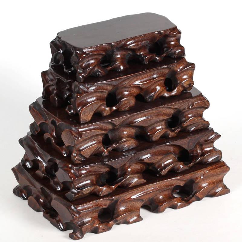 雅轩斋正品石头玉石摆件木质花瓶底座批发实木奇石底座 实木底座可