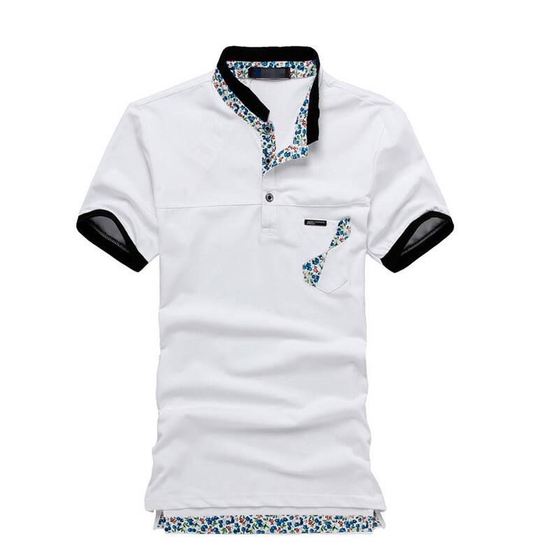 ozz夏装新款个性立领花边口袋时尚男款短袖t恤ghjf-(jp)abc 白色 xxl