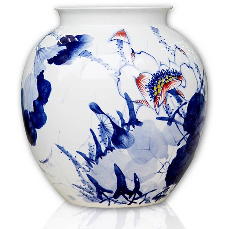 瓷晟 景德镇陶瓷器 大师手绘青花瓷花瓶 和为贵 高档家居摆件