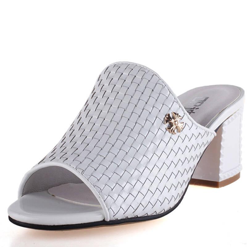 2014新款女士粗跟防水台女凉拖头层编织牛皮女凉鞋露趾高跟女鞋子368