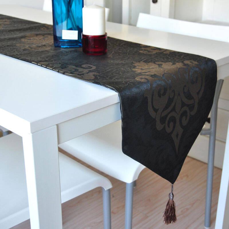 米乐 巴洛克风格欧式奢华装饰桌旗餐旗餐桌旗餐垫 雅金色 桌旗32*180