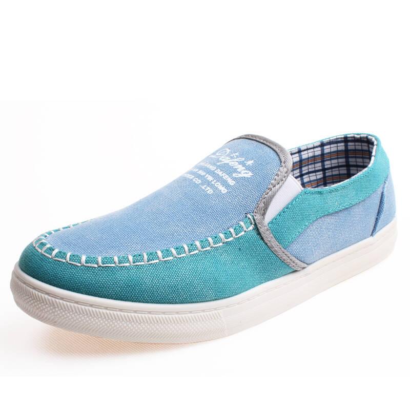 新品舒适男鞋子透气天窗男帆布鞋懒人鞋韩版潮板鞋英伦男士休闲鞋单鞋