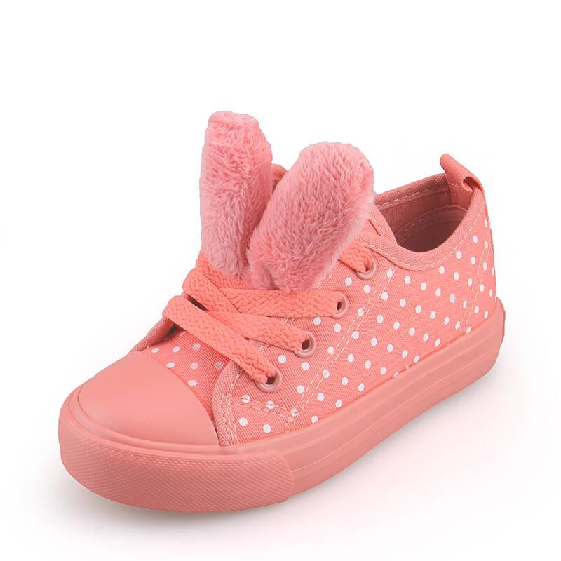 新款波点粉红女孩可爱兔耳朵潮流儿童鞋低帮帆布鞋子韩版女童2014春季