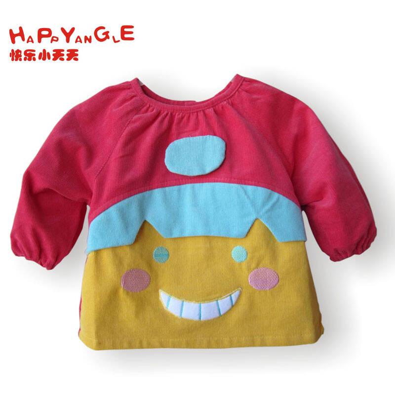可爱娃娃防水罩衣 灯芯绒儿童反穿衣 吃饭衣服外套上衣纯棉一等品9557