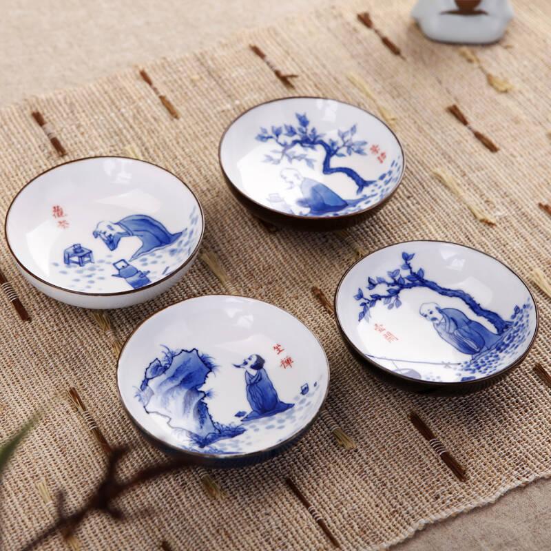 鼎公 景德镇陶瓷 手绘青花瓷功夫茶具 茶器茶杯套装 手绘人物品茗杯
