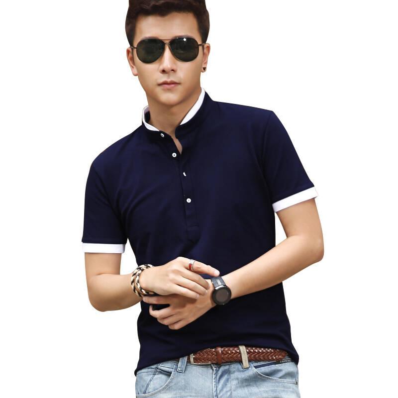 青年时尚男装_康洛斯 夏季新款时尚百搭男装青年短袖polo衫简约保罗