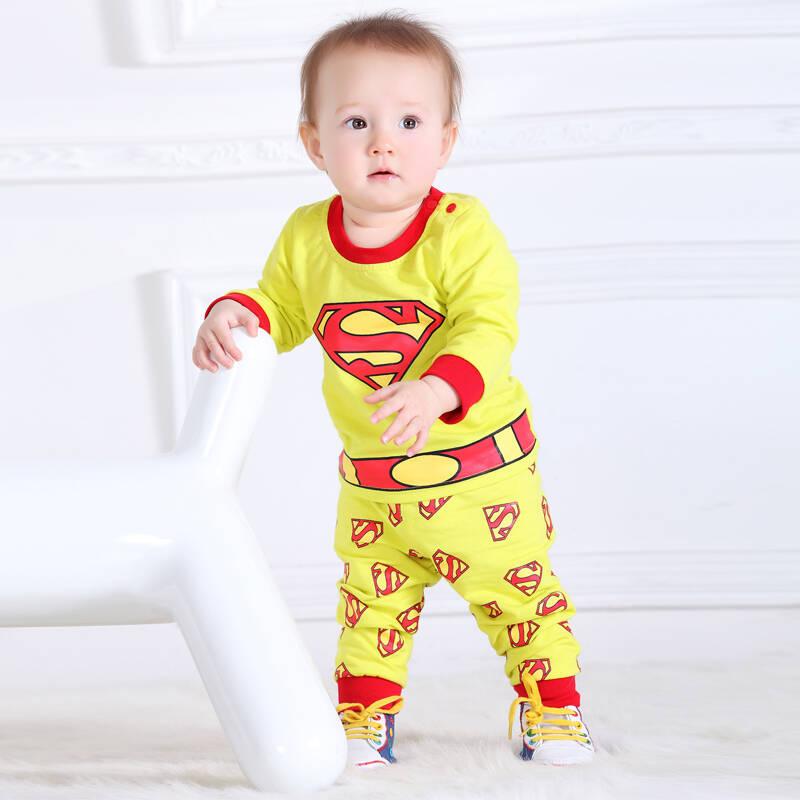 嘻哈猫2014新款春秋款童装 宝宝动物超人衣服 可爱套装 3288 黄色 100