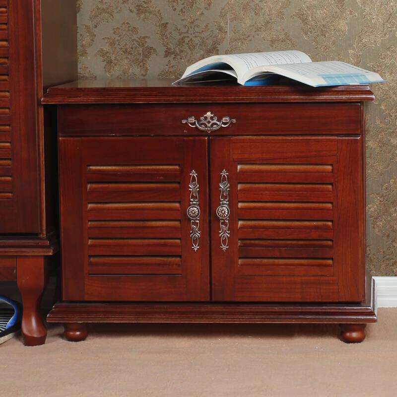 香木语 欧式实木家具大容量百叶透气鞋柜玄关柜超薄免