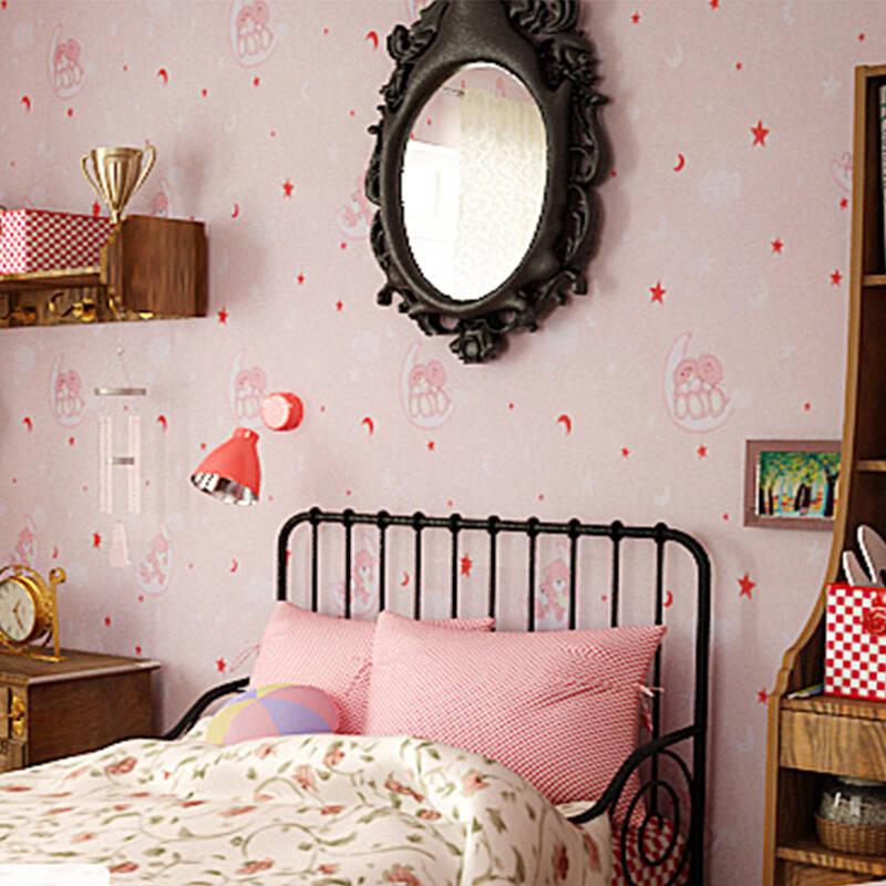 超萌象 卧室儿童房 卡通墙纸 无纺布儿童壁纸女孩 睡睡熊 3