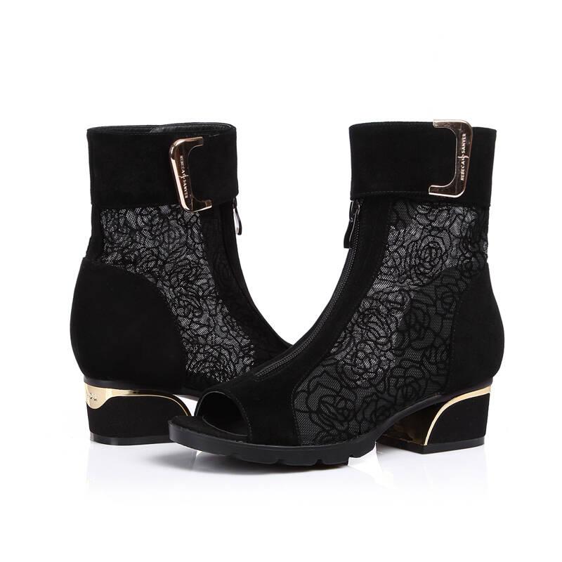 柯百蒂夏天液体春秋季女单靴鱼嘴短靴女靴镂按皮靴要求客户图片