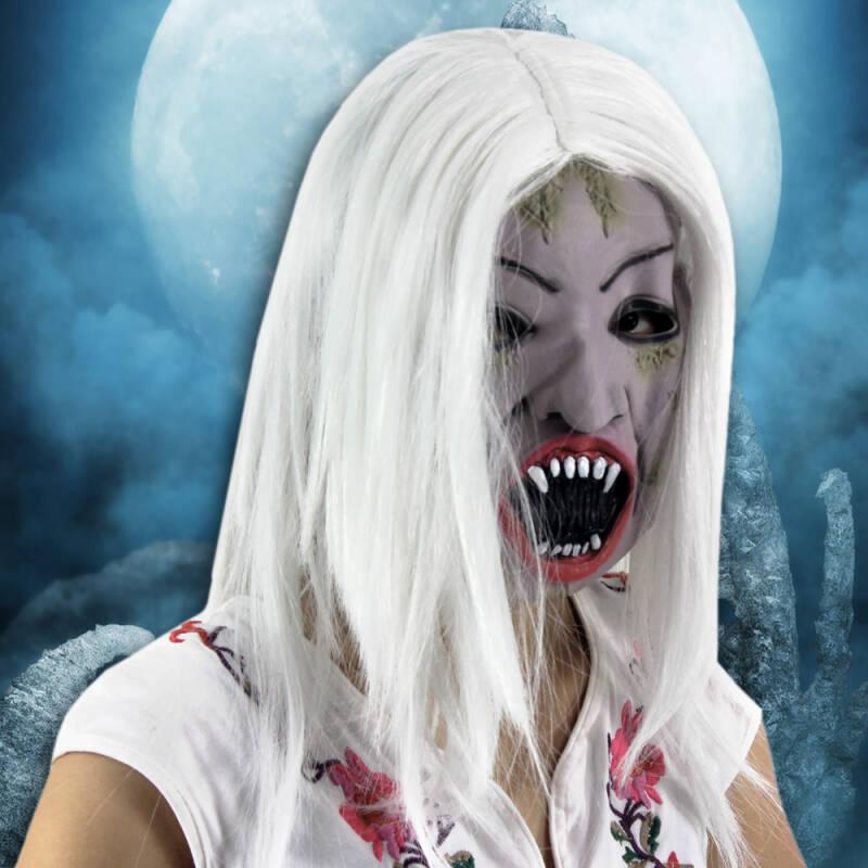 万圣节面具 仿真人皮面具 环保乳胶恐怖面具 白发魔女